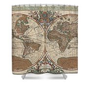 1691 Sanson Map Of The World On Hemisphere Projection Shower Curtain