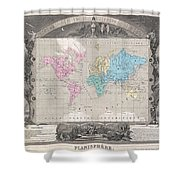 1852 Levasseur Map Of The World Shower Curtain