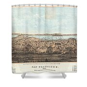 1856 Henry Bill Map And View Of San Francisco California Shower Curtain