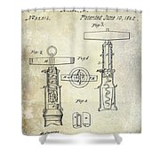 1862 Corkscrew Patent Drawing Shower Curtain