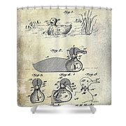 1902 Duck Decoy Patent Drawing Shower Curtain