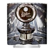 1911 Cadillac Roadster Hood Ornament - Moto Meter Shower Curtain