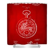 1916 Pocket Watch Patent Red Shower Curtain