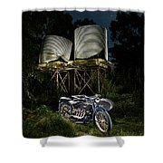1924 Ace And Corrugated Water Tanks Shower Curtain