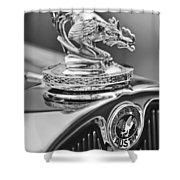 1931 American Austin Roadster Hood Ornament Shower Curtain