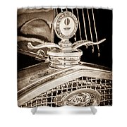 1931 Model A Ford Deluxe Roadster Hood Ornament Shower Curtain