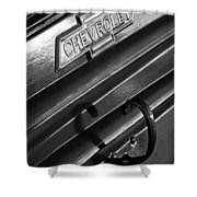 1937 Chevrolet Custom Pickup Emblem Shower Curtain by Jill Reger
