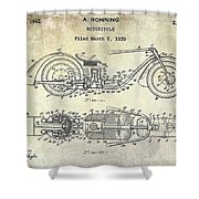 1939 Motorcycle Patent Drawing Shower Curtain