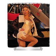 1940s Style Aviator Pin-up Girl Posing Shower Curtain