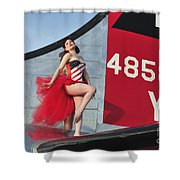 1940s Style Pin-up Girl Standing Shower Curtain