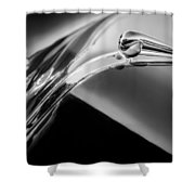 1941 Lincoln Contitnental Convertible Hood Ornament - Grille Emblem -0438bw Shower Curtain