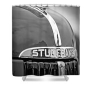 1947 Studebaker M5 Pickup Truck Grill Emblem - Hood Ornament Shower Curtain