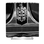 1948 Dodge D24 Club Coupe Emblem Shower Curtain by Jill Reger