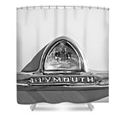 1948 Plymouth Deluxe Emblem Shower Curtain