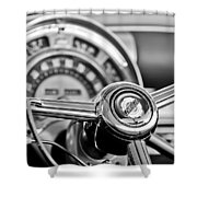 1949 Chrysler Town And Country Convertible Steering Wheel Emblem Shower Curtain