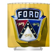 1950 Ford Custom Deluxe Station Wagon Emblem Shower Curtain