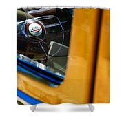 1950 Ford Custom Deluxe Woodie Station Wagon Steering Wheel Emblem Shower Curtain by Jill Reger
