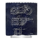 1950 Motorcycle Patent Drawing Blue Shower Curtain