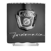 1950's Ford F-100 Fordomatic Pickup Truck Hood Emblems Shower Curtain
