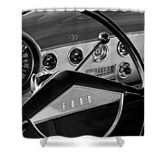 1951 Ford Crestliner Steering Wheel Shower Curtain by Jill Reger