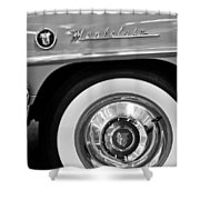 1951 Mercury Montclair Convertible Wheel Emblem Shower Curtain