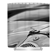 1952 Jaguar Xk 120 John May Speciale Hood Emblem Shower Curtain