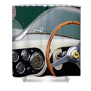 1953 Ferrari 340 Mm Lemans  Spyder Steering Wheel Emblem Shower Curtain