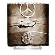 1953 Mercedes Benz Hood Ornament Shower Curtain