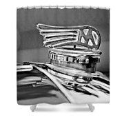 1953 Morgan Plus 4 Le Mans Tt Special Hood Ornament Shower Curtain