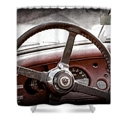 1954 Jaguar Xk120 Roadster Steering Wheel Emblem Shower Curtain