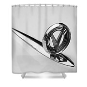 1955 Buick Special Hood Ornament Shower Curtain