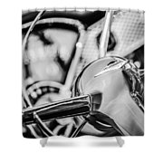1955 Chevrolet Bel Air Convertible Steering Wheel Emblem -0976bw Shower Curtain