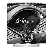 1955 Chevrolet Belair Dashboard Emblem Clock Shower Curtain