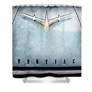 1955 Pontiac Safari Hood Ornament - Emblem Shower Curtain