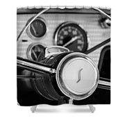 1955 Studebaker President Steering Wheel Emblem Shower Curtain by Jill Reger