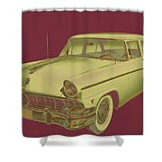 1956 Ford Custom Line Antique Car Pop Art Shower Curtain