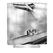 1956 Mercury Monterey Hood Ornament - Emblem Shower Curtain