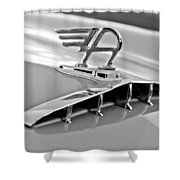 1957 Austin Cambrian 4 Door Saloon Hood Ornament Shower Curtain