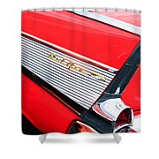 1957 Chevrolet Belair Convertible Taillight Emblem Shower Curtain