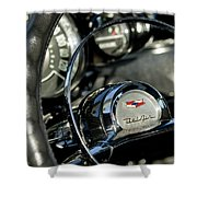 1957 Chevrolet Belair Steering Wheel Shower Curtain