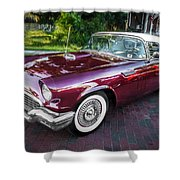 1957 Ford Thunderbird Convertible Painted    Shower Curtain