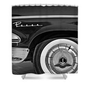 1958 Edsel Pacer Wheel Emblem Shower Curtain