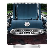 1959 Chevy Corvette Convertible Painted  Shower Curtain