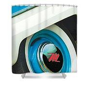 1959 Nash Metropolitan Wheel Emblem Shower Curtain