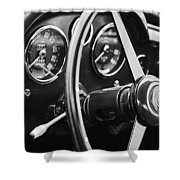 1960 Aston Martin Db4 Gt Coupe' Steering Wheel Emblem Shower Curtain