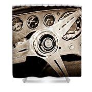 1960 Maserati Steering Wheel Emblem Shower Curtain