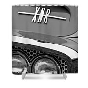 1960 Plymouth Xnr Ghia Roadster Grille Emblem Shower Curtain by Jill Reger