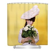 1960s Glamour Woman In White Turn Shower Curtain