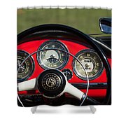 1961 Alfa-romeo Giulietta Spider Steering Wheel Emblem Shower Curtain