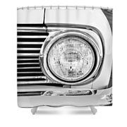 1963 Ford Falcon Futura Convertible Headlight - Hood Ornament Shower Curtain by Jill Reger